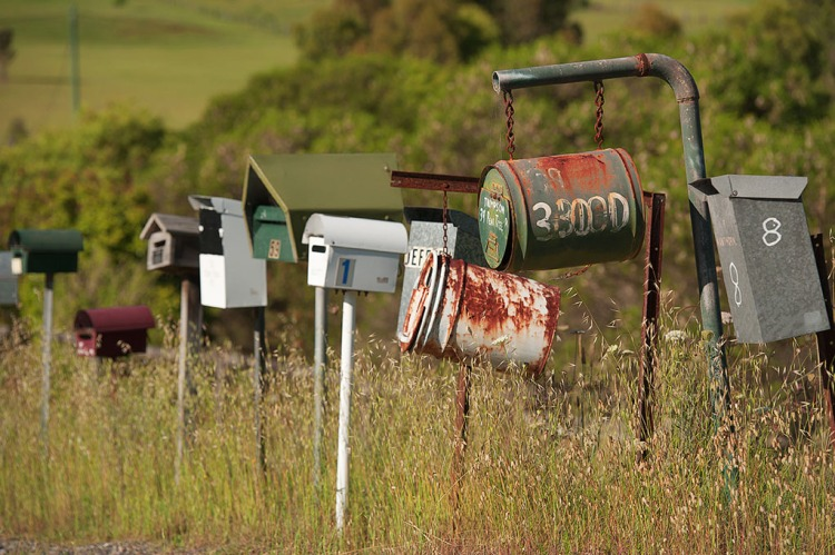 letterboxes on a country road